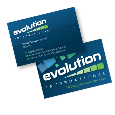 A business card designed by am:pm graphics for a business called Evolution Internation. Front and back.