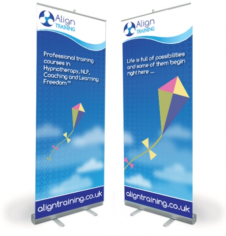 Two pop-up banner designs