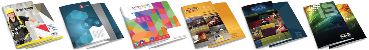 Six examples of brochures designed by am:pm graphics. Showing the front and back of each catalogue design.