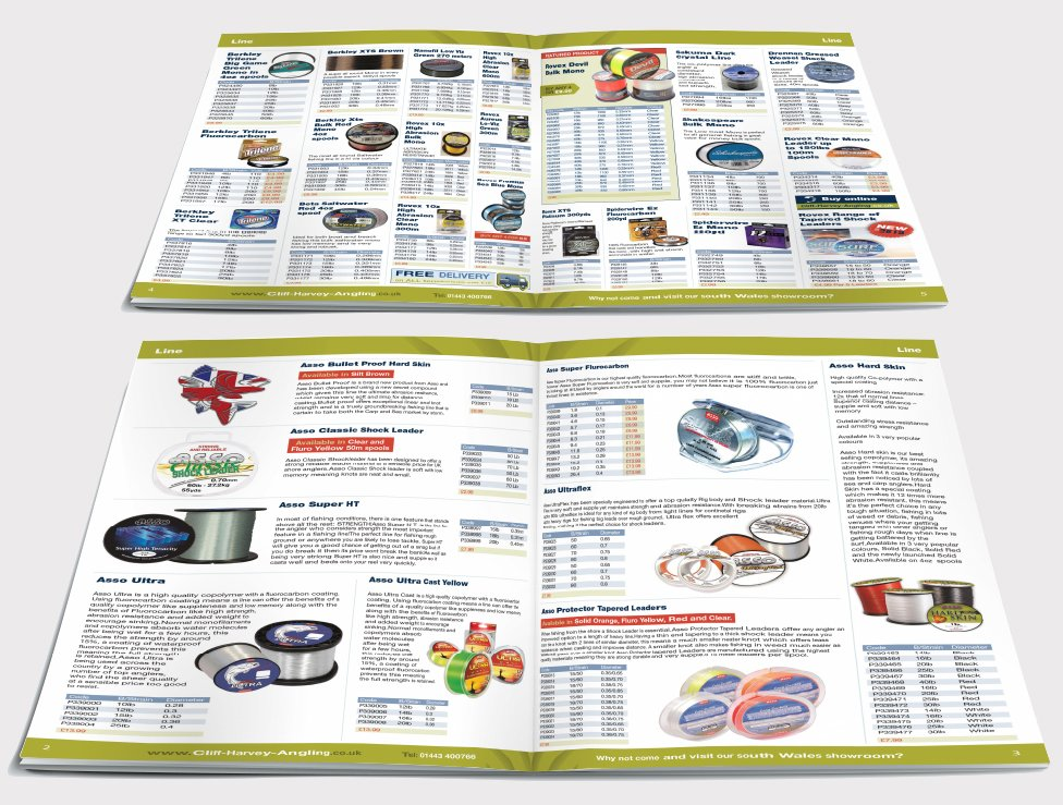 Two double page spreads from a catalogue design for Cliff Harvey Angling. Designed by am:pm graphics.