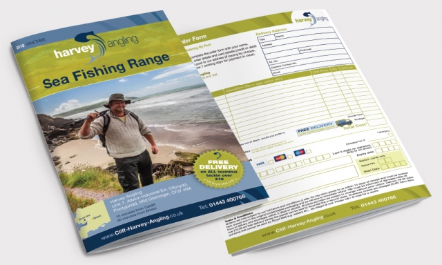Front and back of a catalogue for Harvey Angling. Designed by am:pm graphics.