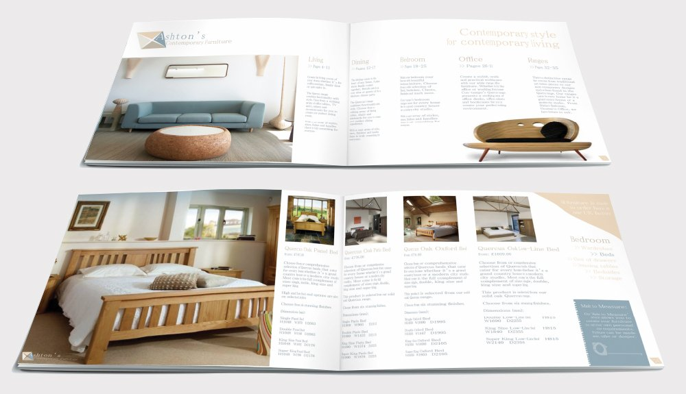 Two double page spreads from a brochure design for Ashton's Contemporary Furniture. Designed by am:pm graphics.