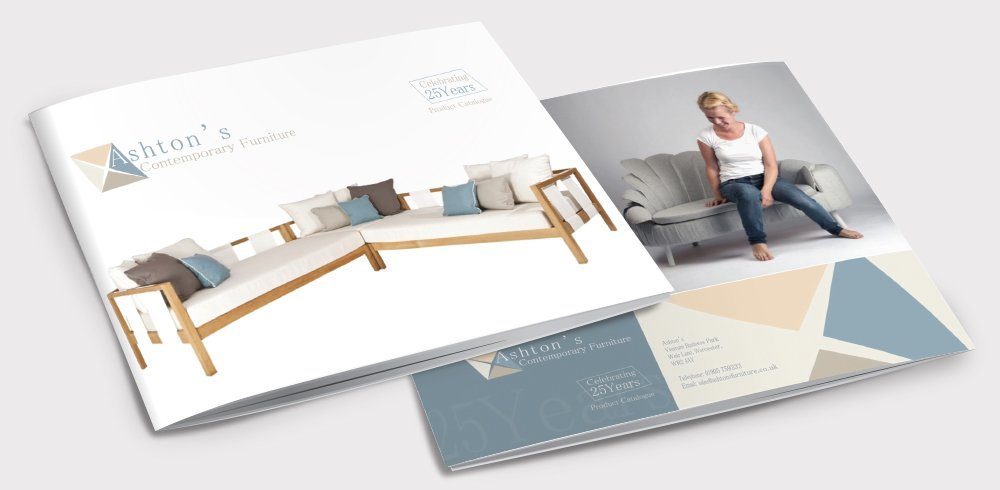 Front and back of a brochure for Ashton's Contemporary Furniture. Designed by am:pm graphics.
