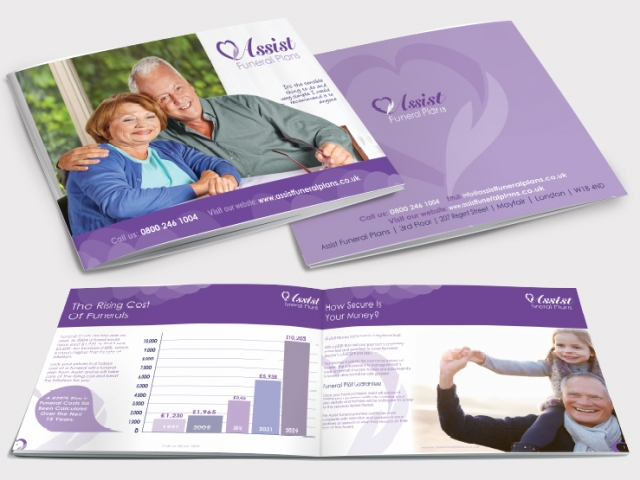 Front and back of a brochure as well as two inside pages for Assist. Designed by am:pm graphics.