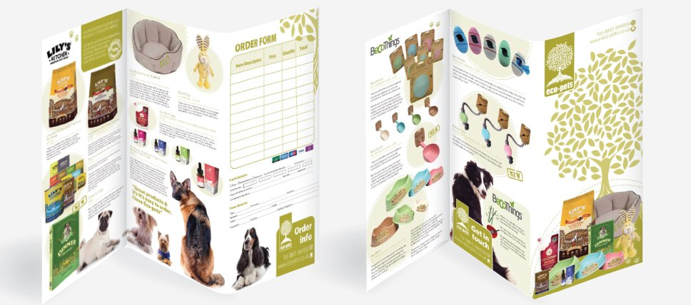 An A3 folded to DL brochure / leaflet for Eco Pets. Designed by am:pm graphics
