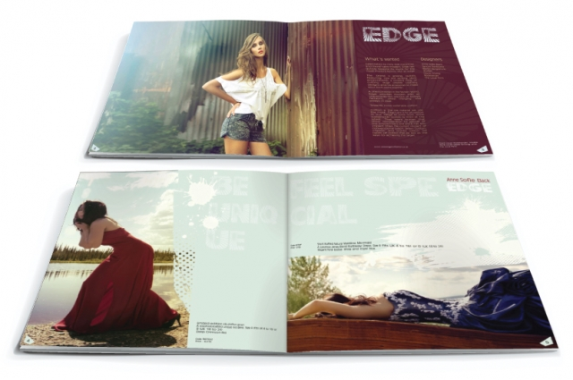 Two double page spreads from a brochure design for Edge. Designed by am:pm graphics.