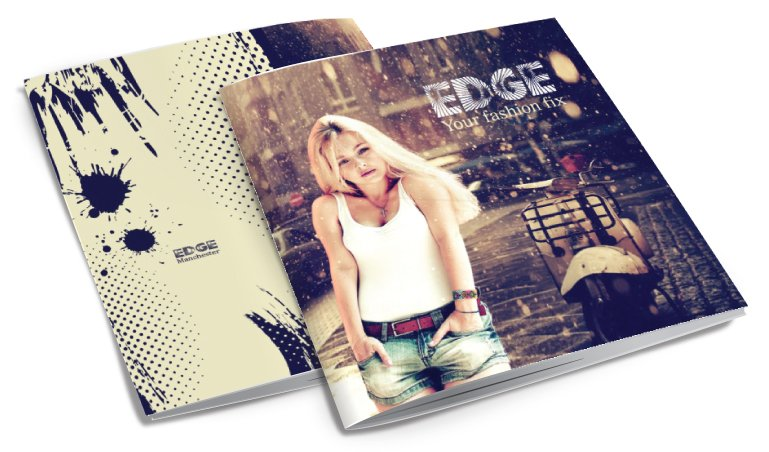 Front and back of a brochure for Edge. Designed by am:pm graphics.
