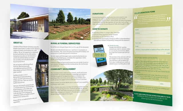 An image showing a fold out leaflet design - inside. Created by am:pm graphics for Gardens of Peace.