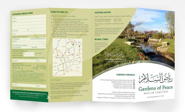 An image showing a fold out leaflet design - outside. Created by am:pm graphics for Gardens of Peace.