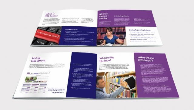 Two double page spreads from a brochure design for He Know. Designed by am:pm graphics.