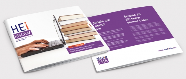 Front and back of a brochure for HEi Know. Designed by am:pm graphics.