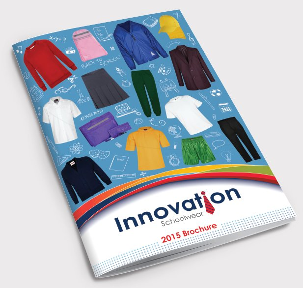 The front of a catalogue design created by am:pm graphics for Innovation School Wear.