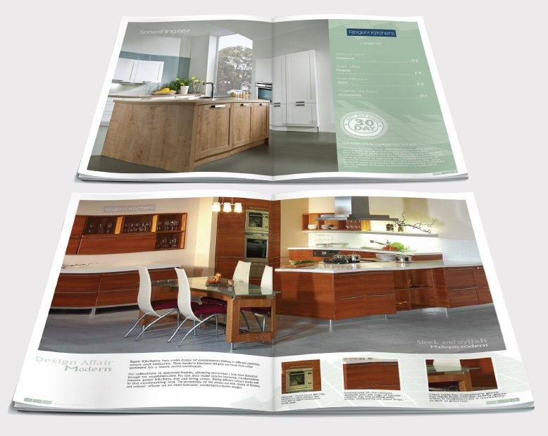 Two double page spreads from a brochure design for Kate's Kitchen. Designed by am:pm graphics.