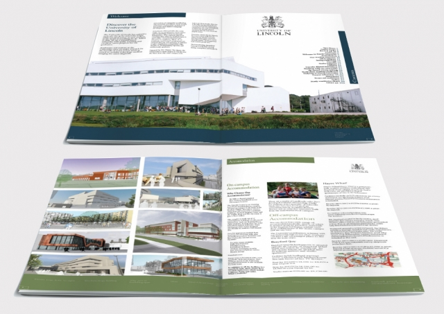 Two double page spreads from a brochure design for Lincoln University. Designed by am:pm graphics.