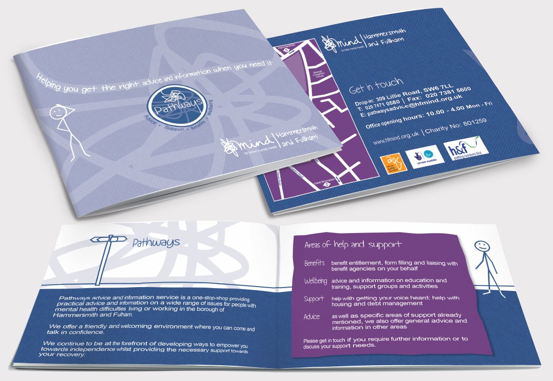 Front and back of a brochure as well as two inside pages for Mind, Pathways. Designed by am:pm graphics.