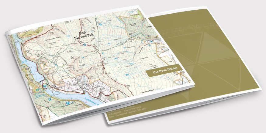 Front and back of a brochure for The Peak District. Designed by am:pm graphics.