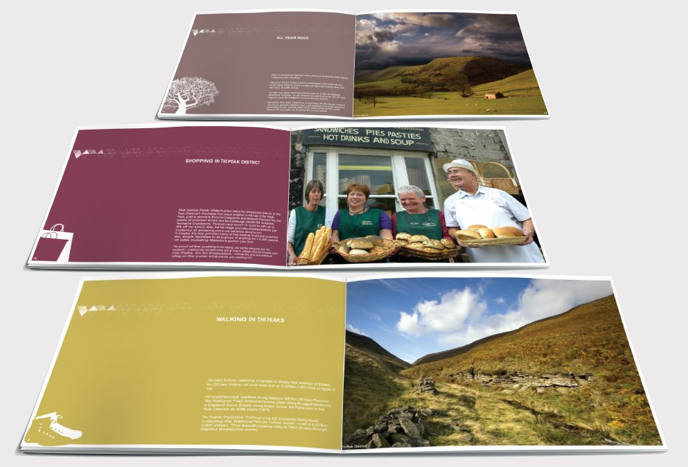 Three double page spreads of a brochure designed by am:pm graphics for the Peak District.