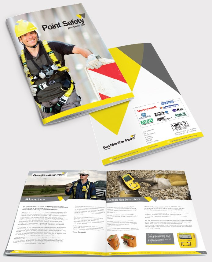 Front and back of a brochure as well as two inside pages for Point Safety. Designed by am:pm graphics.