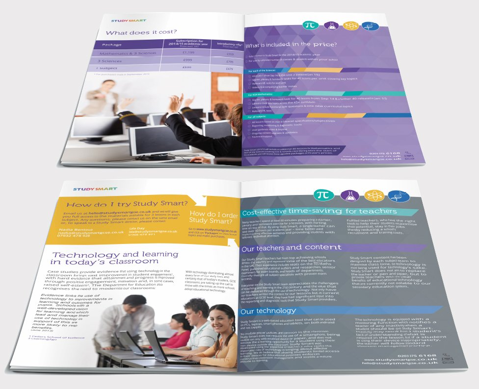 Two double page spreads from a brochure design for Study Smart. Designed by am:pm graphics.