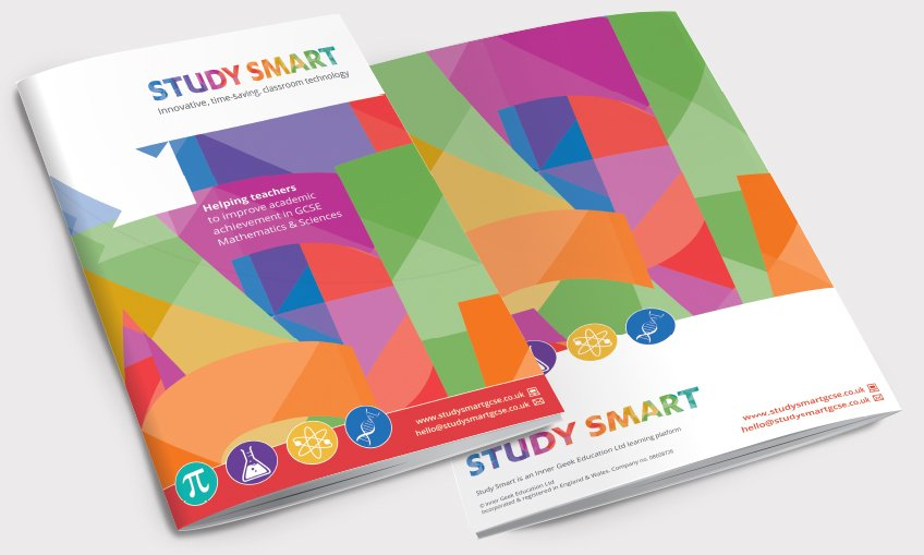 Front and back of a brochure for Study Smart. Designed by am:pm graphics.
