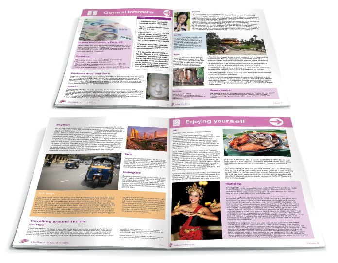 Two double page spreads from a brochure design for Dream of Thailand. Designed by am:pm graphics.
