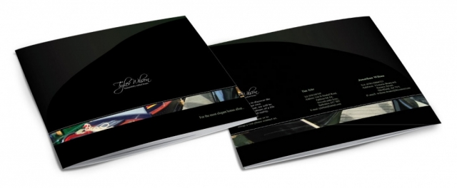 Front and back of a brochure for Tyler and Wilson. Designed by am:pm graphics.