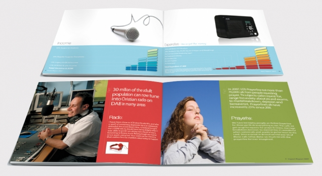 Two double page spreads from a brochure design for UCB. Designed by am:pm graphics.