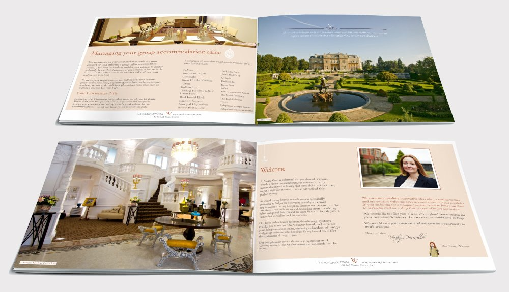 Two double page spreads from a brochure design for Verity Venue. Designed by am:pm graphics.