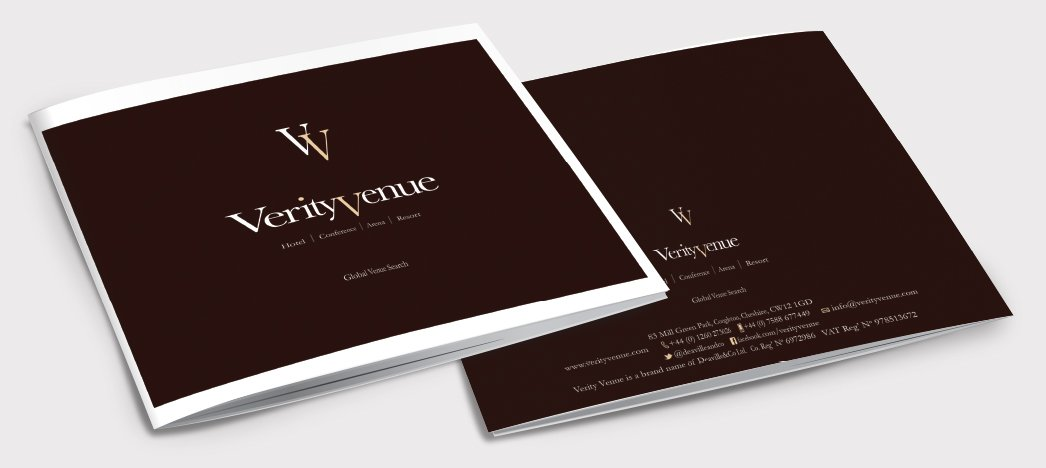 Front and back of a brochure for Verity Venue. Designed by am:pm graphics.