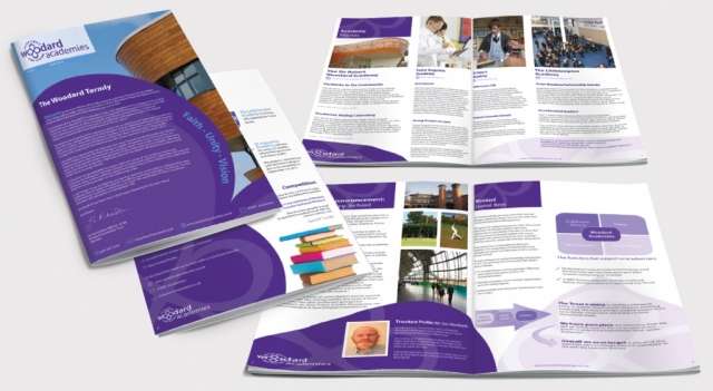 Front and back of a brochure as well as two double page spreads for Woodard Academies. Designed by am:pm graphics.