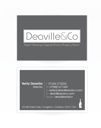 A double sided business card design for Deaville and Co. Designed by am:pm graphics.