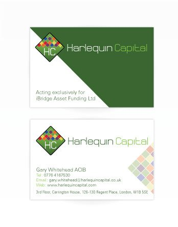 A double sided business card design for Harlequin Capital. Designed by am:pm graphics.