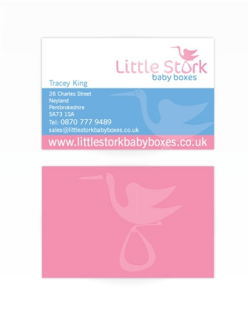 A double sided business card design for Little Stork. Designed by am:pm graphics.