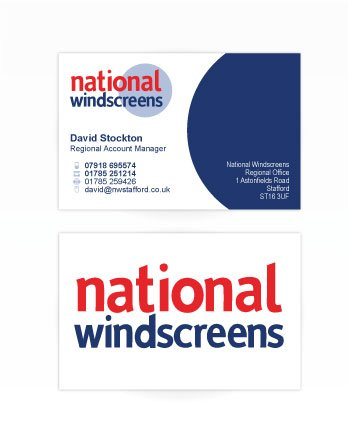 A double sided business card design for National Windscreens. Designed by am:pm graphics.