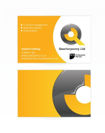 A double sided business card design for Quaterpenny Ltd. Designed by am:pm graphics.