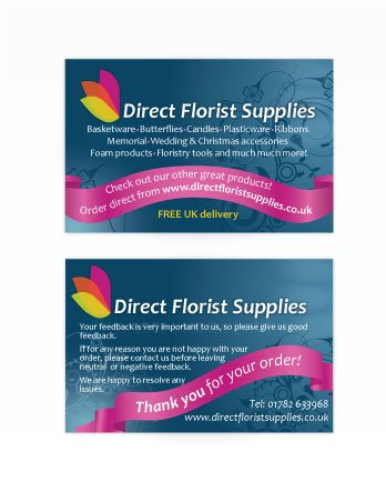 A double sided business card design for Direct Florist Supplies. Designed by am:pm graphics.