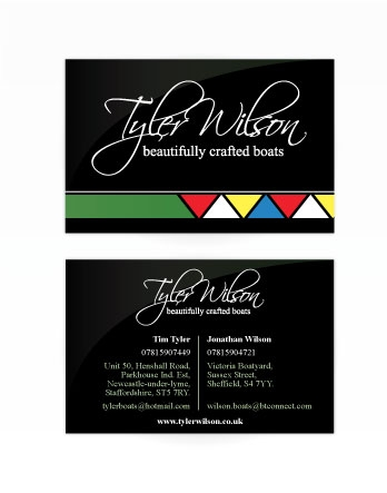 A double sided business card design for Tyler Wilson. Designed by am:pm graphics.