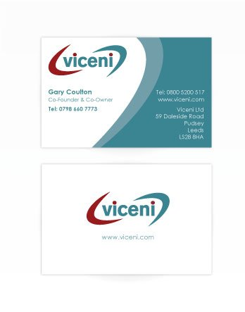 A double sided business card design for Viceni. Designed by am:pm graphics.