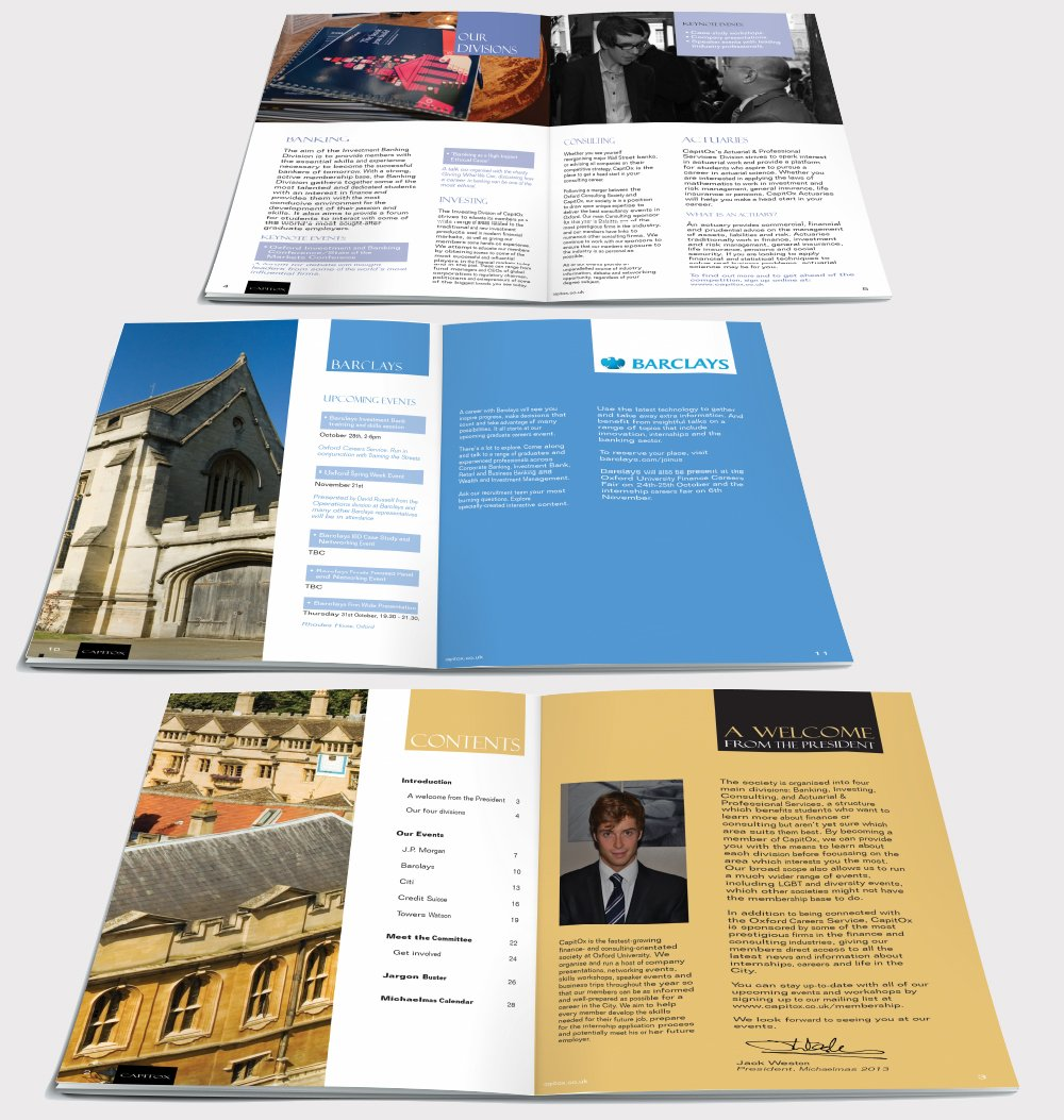 Six inside pages of a brochure for Capitox, Cambridge Univertsity. Designed by am:pm graphics.