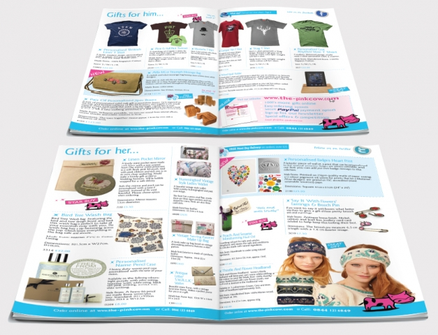 Two double page spreads from a catalogue design for Pink Cow. Designed by am:pm graphics.