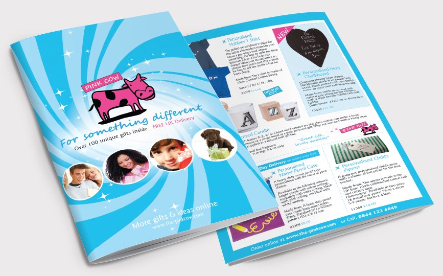Front and back of a catalogue for Pink Cow. Designed by am:pm graphics.