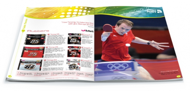 One double page spread of a brochure designed by am:pm graphics for Sport Port.