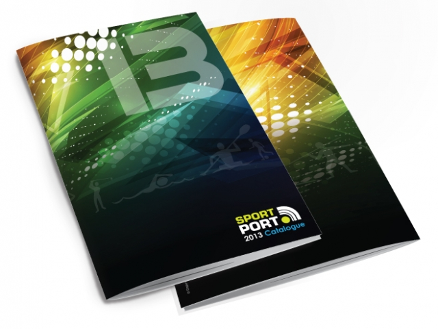 Front and back of a catalogue for Sport Port. Designed by am:pm graphics.