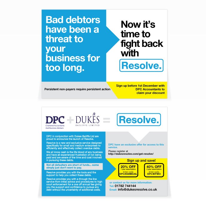 A double sided A6 flyer design for Resolve