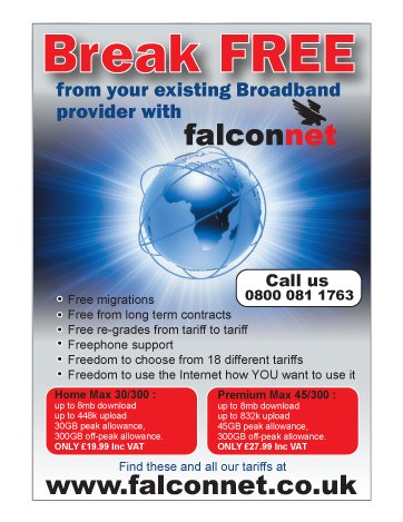 A single sided A5 flyer design for Falcon Net