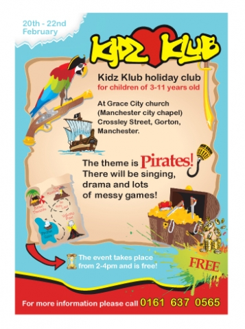 A single sided A5 flyer design for Kidz Klub