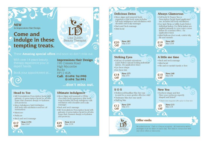 A double sided A5 flyer design for LD Beauty Therapist.