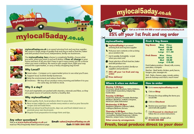 A double sided A5 flyer design for Mylocal5aday.co.uk