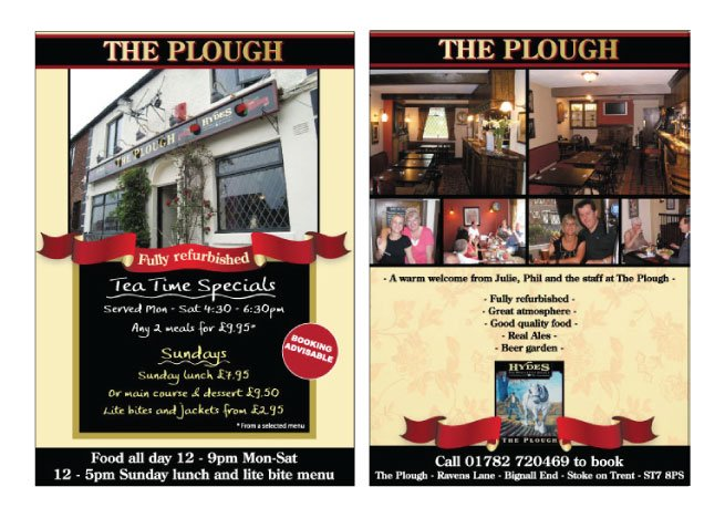 A double sided A5 flyer design for The Plough.