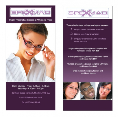 A double sided DL flyer design for Spex Mad